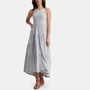 LUCKY BRAND Striped Sleeveless Ruched Maxi dress
